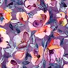May Afternoon - a watercolor floral in purple and peach by micklyn