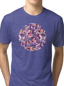 May Afternoon - a watercolor floral in purple and peach Tri-blend T-Shirt