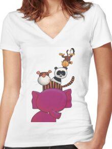 Splatter Stack Women's Fitted V-Neck T-Shirt