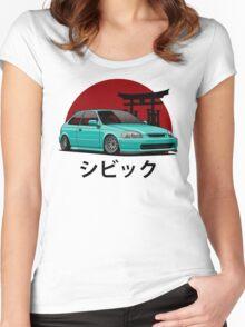 Civic EK (aquamarine) Women's Fitted Scoop T-Shirt