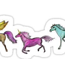 Parade of horses, pegasus and unicorn Sticker