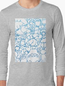 Ghibli Blue Design Long Sleeve T-Shirt