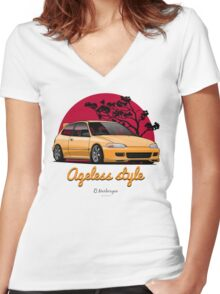 Ageless Style Civic EG (yellow) Women's Fitted V-Neck T-Shirt