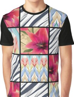 Patchwork seamless floral lilly pattern texture background with decorative elements Graphic T-Shirt