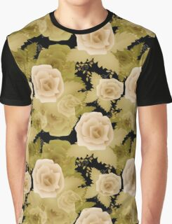 Abstract elegance seamless pattern with beige roses flowers background Graphic T-Shirt