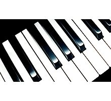 Black White Piano Keys Music Keyboard Geometric Pattern Photographic Print