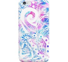 Purple Blue Teal White Hand Drawn Flowers Doodle iPhone Case/Skin