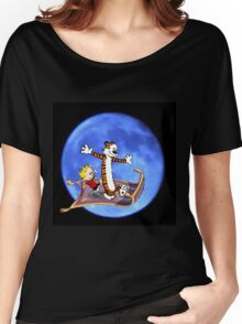calvin and hobbes moon sky Women's Relaxed Fit T-Shirt
