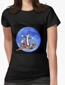 calvin and hobbes moon sky Womens Fitted T-Shirt