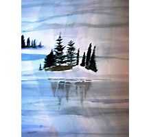 Trees reflected in frozen lake Photographic Print