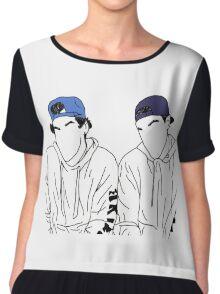 Dolan twins- stencil hats #2 Chiffon Top