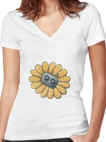 Flower Bot Women's Fitted V-Neck T-Shirt