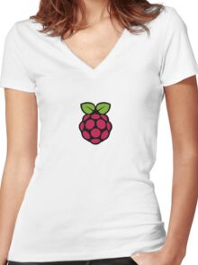 Raspberry Pi Logo Women's Fitted V-Neck T-Shirt