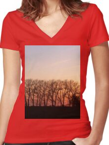 Trees In The Romantic Sunset Women's Fitted V-Neck T-Shirt