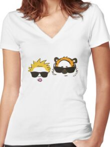 calvin and hobbes sunglasses Women's Fitted V-Neck T-Shirt
