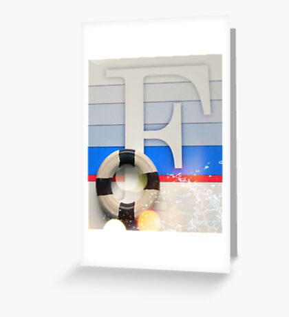 Initial F Nautical style Greeting Card