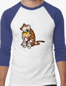 calvin and hobbes sleeping Men's Baseball ¾ T-Shirt