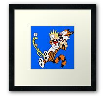 calvin and hobbes shocked Framed Print
