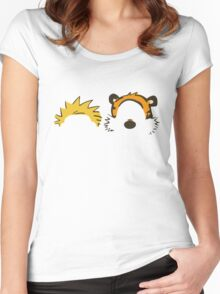 calvin and hobbes not face Women's Fitted Scoop T-Shirt