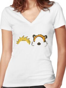 calvin and hobbes not face Women's Fitted V-Neck T-Shirt