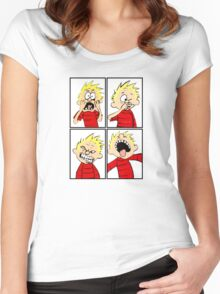 calvin expression face Women's Fitted Scoop T-Shirt