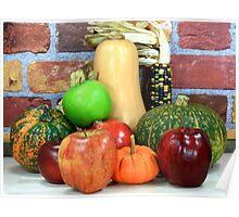Fall fruits assorts. Poster