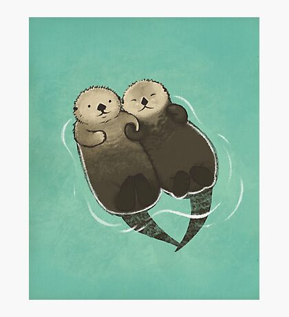 Significant Otters - Otters Holding Hands Photographic Print