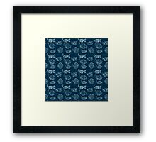 hand drawn fish pattern Framed Print