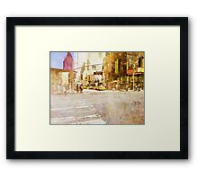 A busy Manhattan street corner painting Framed Print