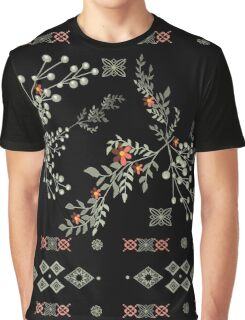 Seamless abstract floral pattern on black background Graphic T-Shirt