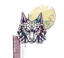 Geometric Watercolor Wolf with Triforce by SoLander