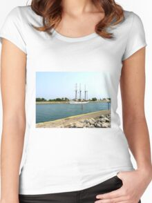 Tree masts sailing ship Women's Fitted Scoop T-Shirt