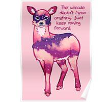"""Just Keep Moving Forward"" Night Sky Deer Poster"