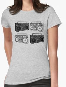 Ghetto Blaster BW Womens Fitted T-Shirt