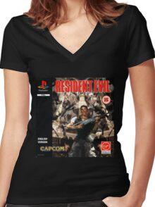 Resident Evil Original Destressed Women's Fitted V-Neck T-Shirt