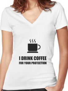 Coffee Protection Women's Fitted V-Neck T-Shirt