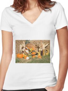 Thanksgiving Day spirit of the fall 02. Women's Fitted V-Neck T-Shirt