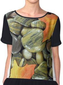 Fall motive with River stones. Chiffon Top