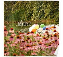 Balloons and Echinacea Celebrate Poster