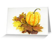 Thanksgiving, Fall. Autumn etude with pumpkin. Greeting Card