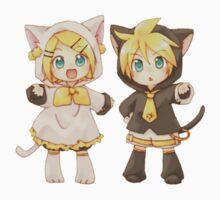 Cute Kagamine Rin and Len Neko Chibi One Piece - Short Sleeve
