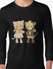 Cute Kagamine Rin and Len Neko Chibi Long Sleeve T-Shirt