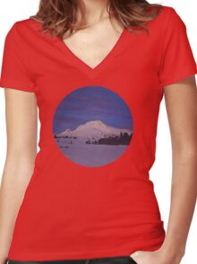 Mt. Hood, Oregon Women's Fitted V-Neck T-Shirt