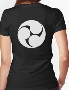 Tomoe, Japan, Japanese, Shinto symbol, Plain & Simple, White on Black Womens Fitted T-Shirt