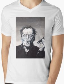 Jack Nicholson Smoke Ring Mens V-Neck T-Shirt