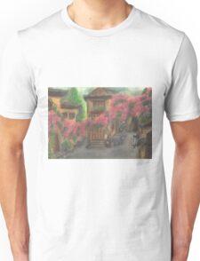 Cat walks on quiet street Unisex T-Shirt