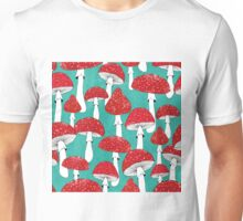 Red mushrooms on turquoise blue Unisex T-Shirt