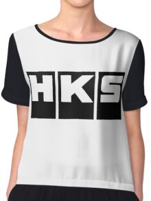 HKS Car Tuning Black Chiffon Top