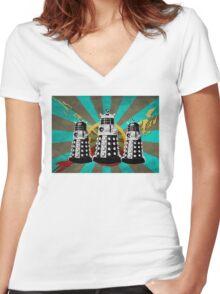 Doctor Who - Retro Daleks Women's Fitted V-Neck T-Shirt