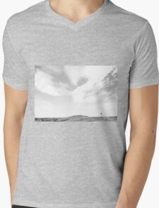 Distant Windmill - Black & White Mens V-Neck T-Shirt